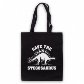 Save The Stegosaurus Dinosaur Extinct Parody Animal Rights Protest Slogan Black Tote Bag
