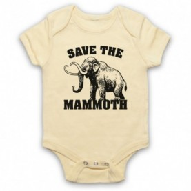 Save The Mammoth Dinosaur Extinct Parody Animal Rights Protest Slogan Light Yellow Baby Grow