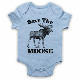 Save The Moose Animal Rights Protest Slogan Light Blue Baby Grow