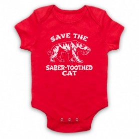 Save The Sabre-Toothed Cat Tiger Dinosaur Extinct Parody Animal Rights Protest Slogan Red Baby Grow