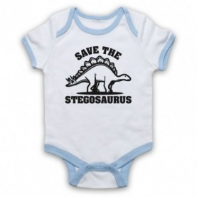Save The Stegosaurus Dinosaur Extinct Parody Animal Rights Protest Slogan White And Light Blue Ringer Baby Grow