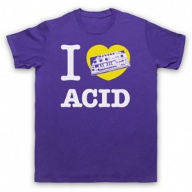 I Love Acid House 303 Dance Music Rave Techno Mens Purple T-Shirt