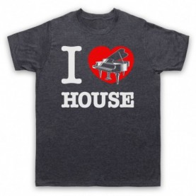 I Love Piano House Classic Dance Music Mens Heather Slate T-Shirt