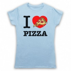 I Love Pizza Womens Light Blue T-Shirt