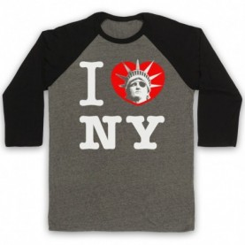 Escape From New York I Love NY Statue Of Liberty Adults Grey And Black Baseball Tee