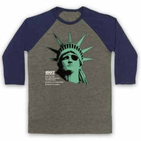 Escape From New York Statue Of Liberty Adults Grey And Navy Blue Baseball Tee