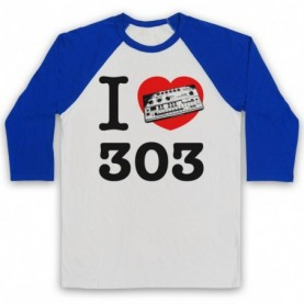 I Love 303 Acid House Dance Techno Rave Adults White And Royal Blue Baseball Tee
