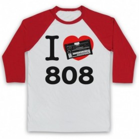 I Love 808 Drum Machine Detroit Techno House Adults White And Red Baseball Tee