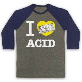 I Love Acid House 303 Dance Music Rave Techno Adults Grey And Navy Blue Baseball Tee
