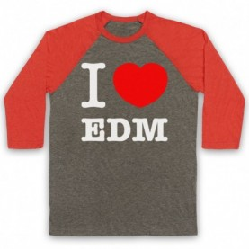 I Love EDM Electronic Dance Music Adults Grey And Light Red Baseball Tee
