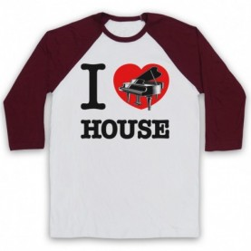 I Love Piano House Classic Dance Music Adults White And Maroon Baseball Tee