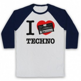 I Love Techno 808 Drum Machine Detroit House Adults White And Navy Blue Baseball Tee