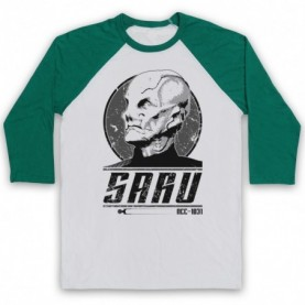Star Trek Discovery Saru Adults White And Green Baseball Tee
