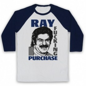 Toast Of London Ray Fucking Purchase Adults White And Navy Blue Baseball Tee