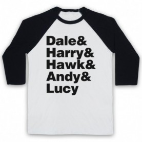 Twin Peaks Sheriff Department Members Dale Harry Hawk Andy Lucy Adults White And Black Baseball Tee