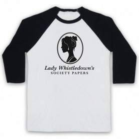 Bridgerton Lady Whistledown's Society Papers Adults White And Black Baseball Tee