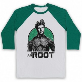 Joe Root I Am Root Groot Guardians Of The Galaxy Parody Cricket Adults White And Green Baseball Tee