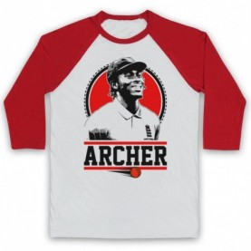 Jofra Archer England Cricket Tribute Adults White And Red Baseball Tee