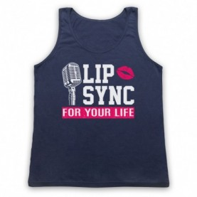 Rupaul's Drag Race Lip Sync For Your Life Adults Navy Blue Tank Top