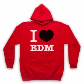 I Love EDM Electronic Dance Music Adults Red Hoodie