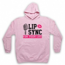 Rupaul's Drag Race Lip Sync For Your Life Adults Light Pink Hoodie