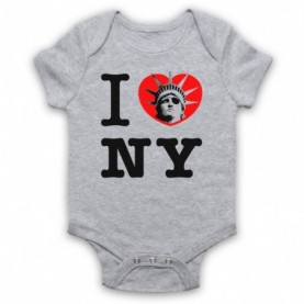 Escape From New York I Love NY Statue Of Liberty Heather Grey Baby Grow