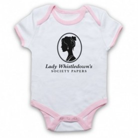 Bridgerton Lady Whistledown's Society Papers White And Light Pink Ringer Baby Grow