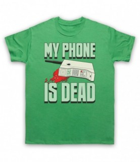 My Phone Is Dead Funny Parody Out Of Battery Slogan T-Shirt T-Shirts