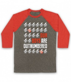 Red Squirrels Our Boys Are Outnumbered Baseball Tee Baseball Tees