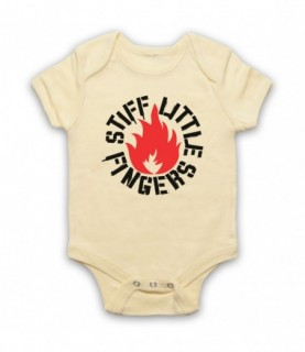 Stiff Little Fingers Flame Logo Inflammable Material Baby Grow Baby Grows