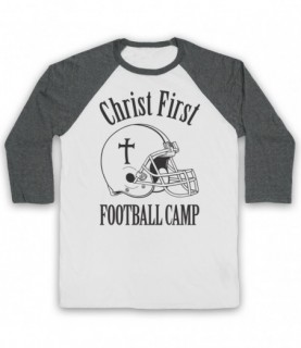 Christ First Football Camp Religious Christian American Football Baseball Tee Baseball Tees