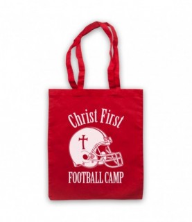 Christ First Football Camp Religious Christian American Football Tote Bag Tote Bags