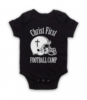 Christ First Football Camp Religious Christian American Football Baby Grow Baby Grows