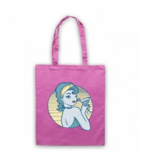 Pin Up Cocktail Lady Tattoo Graphic Illustration Tote Bag Tote Bags