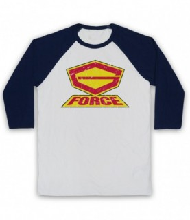 G Force Logo Adults White And Navy Blue Baseball Tee