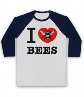 I Love Bees Adults White And Navy Blue Baseball Tee
