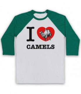 I Love Camels Adults White And Green Baseball Tee