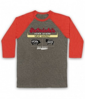 Sopranos Satriales Meat Market Pork Store Sign Adults Grey And Light Red Baseball Tee