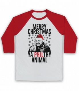 Eastenders Phil Mitchell Merry Christmas Ya Philthy Animal Adults White And Red Baseball Tee