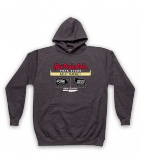 Sopranos Satriales Meat Market Pork Store Sign Adults Charcoal Hoodie