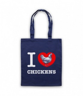 I Love Chickens Navy Blue Tote Bag