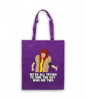 I Think You Should Leave Hotdog Guy Trying To Find The Guy Who Did This Purple Tote Bag