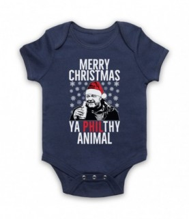 Eastenders Phil Mitchell Merry Christmas Ya Philthy Animal Navy Blue Baby Grow