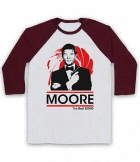 James Bond Roger Moore The Best Bond Adults White And Maroon Baseball Tee