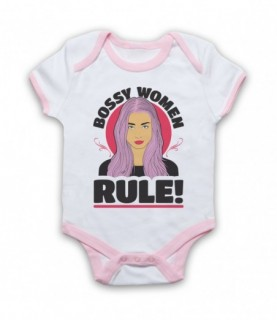 Bossy Women Rule Feminist Slogan Baby Grow Bib