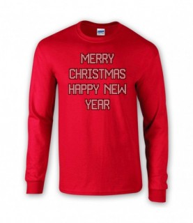 Merry Christmas Happy New Year Festive Jumper Faux Knitted Style T-Shirt