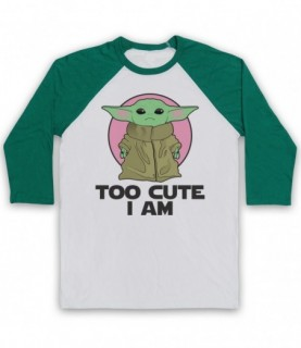 Mandalorian Star Wars Baby Yoda Too Cute I Am Baseball Tee