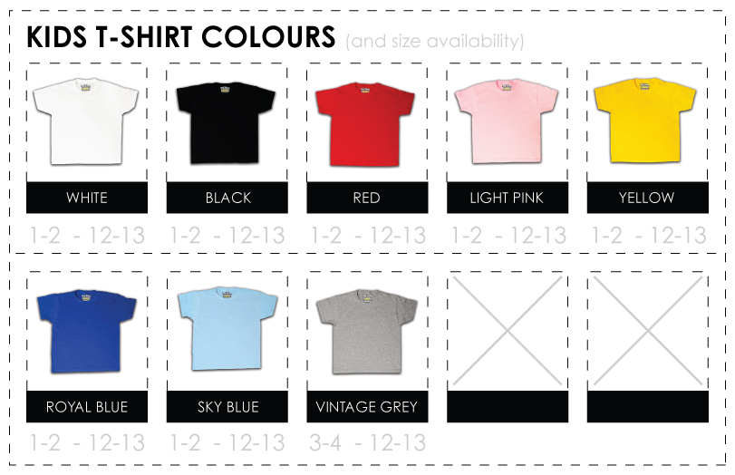 Kids T Shirt Colours